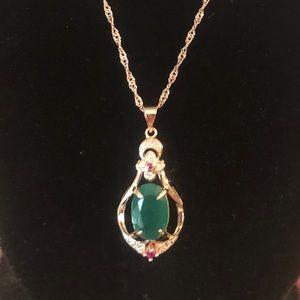 "Jewelry - Rose Gold & Jade pendant necklace 18"" NIB"